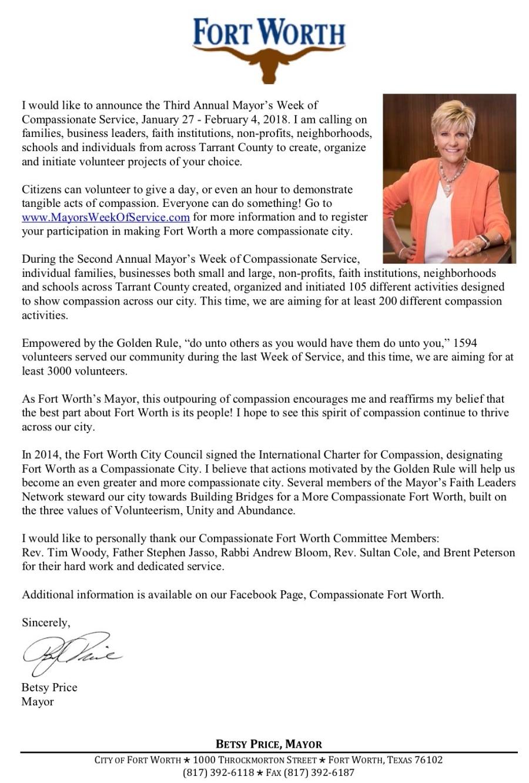 Mayor Letter 2018